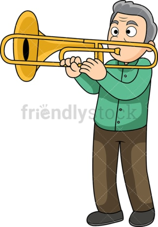 Old man trombone player. PNG - JPG and vector EPS file formats (infinitely scalable). Image isolated on transparent background.