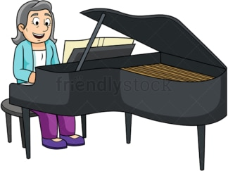 Old woman playing the piano. PNG - JPG and vector EPS file formats (infinitely scalable). Image isolated on transparent background.