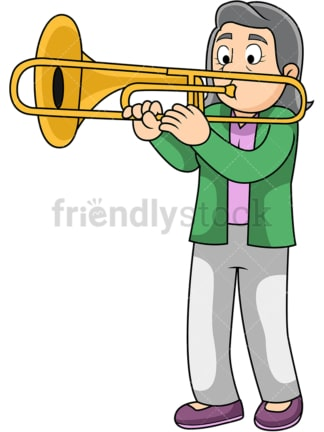 Old woman playing trombone. PNG - JPG and vector EPS file formats (infinitely scalable). Image isolated on transparent background.