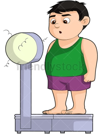 Overweight boy on weight scale. PNG - JPG and vector EPS file formats (infinitely scalable). Image isolated on transparent background.