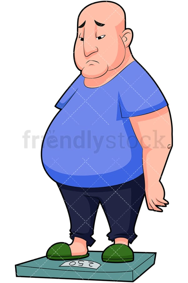 Sad fat man on weight scale. PNG - JPG and vector EPS (infinitely scalable). Image isolated on transparent background.