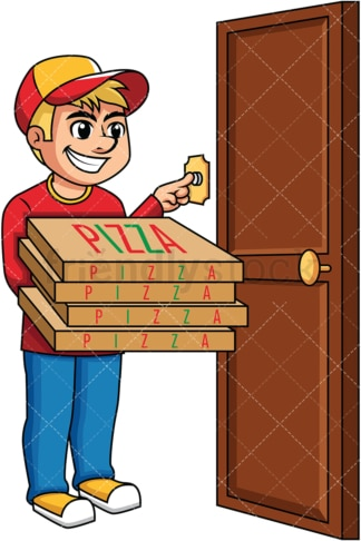 Pizza delivery boy ringing doorbell . PNG - JPG and vector EPS (infinitely scalable). Image isolated on transparent background.