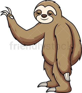 Sloth making a slow gesture. PNG - JPG and vector EPS (infinitely scalable). Image isolated on transparent background.
