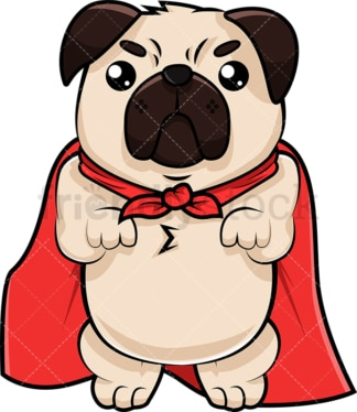 Superhero pug dog. PNG - JPG and vector EPS (infinitely scalable). Image isolated on transparent background.