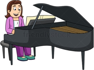 Woman playing the piano. PNG - JPG and vector EPS file formats (infinitely scalable). Image isolated on transparent background.