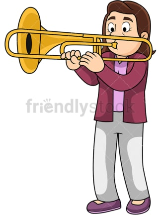 Woman playing the trombone. PNG - JPG and vector EPS file formats (infinitely scalable). Image isolated on transparent background.