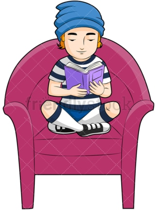 Little boy reading a book. PNG - JPG and vector EPS (infinitely scalable). Image isolated on transparent background.