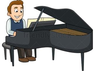 Man playing the piano. PNG - JPG and vector EPS file formats (infinitely scalable). Image isolated on transparent background.