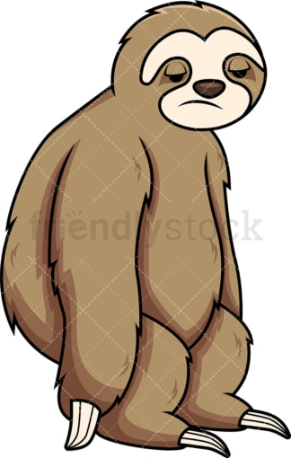 Apathetic sloth. PNG - JPG and vector EPS (infinitely scalable). Image isolated on transparent background.