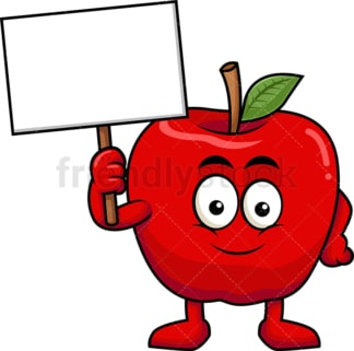 Apple cartoon character holding blank sign. PNG - JPG and vector EPS (infinitely scalable). Image isolated on transparent background.