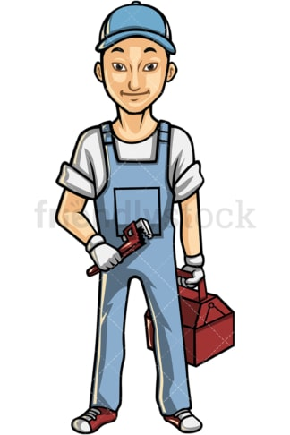 Asian male plumber. PNG - JPG and vector EPS file formats (infinitely scalable). Image isolated on transparent background.