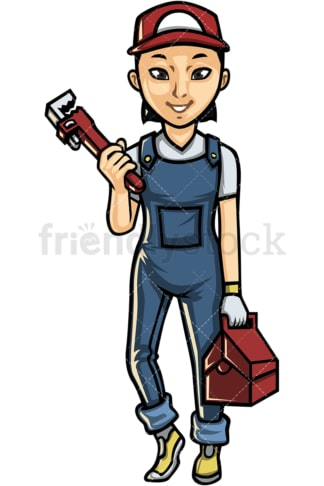 Asian female plumber. PNG - JPG and vector EPS file formats (infinitely scalable). Image isolated on transparent background.
