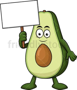 Avocado cartoon character holding blank sign. PNG - JPG and vector EPS (infinitely scalable). Image isolated on transparent background.