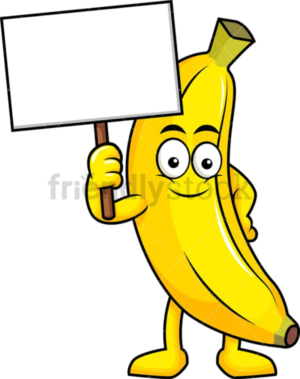 Banana cartoon character holding blank sign. PNG - JPG and vector EPS (infinitely scalable). Image isolated on transparent background.