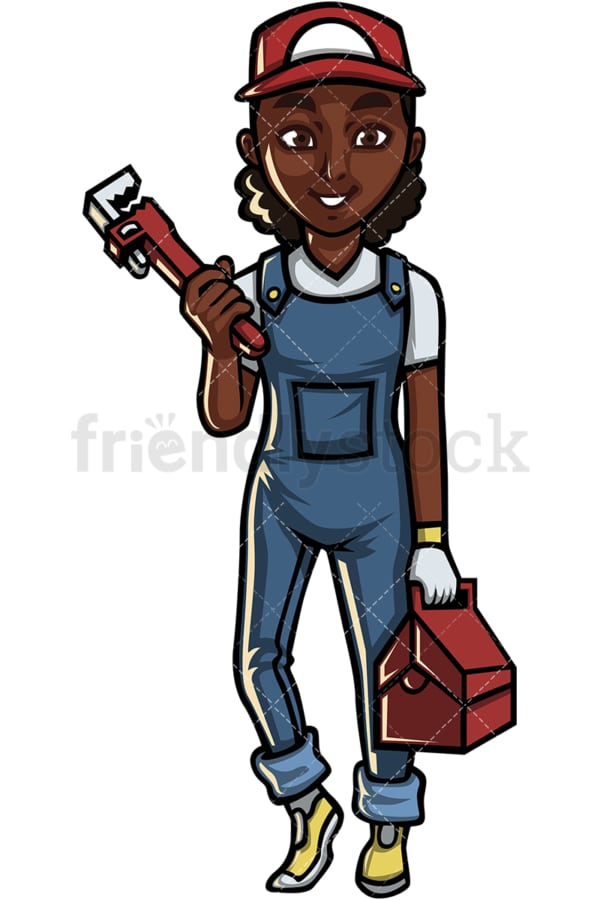 African American female plumber. PNG - JPG and vector EPS file formats (infinitely scalable). Image isolated on transparent background.