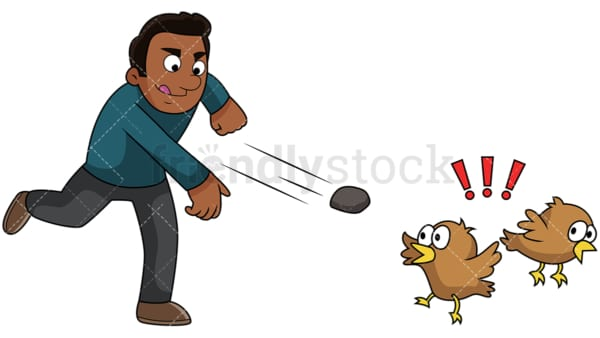 Black guy kills two birds with one stone. PNG - JPG and vector EPS file formats (infinitely scalable). Image isolated on transparent background.
