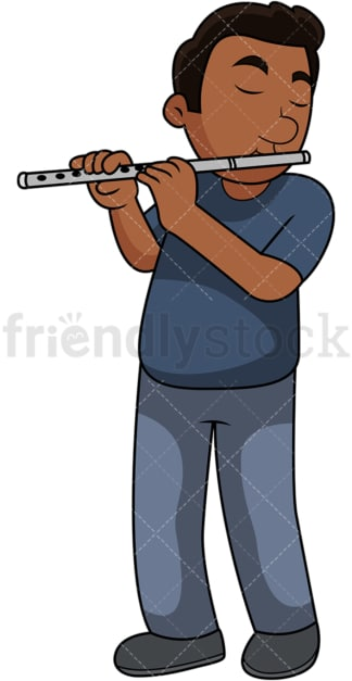 Black guy playing the flute. PNG - JPG and vector EPS file formats (infinitely scalable). Image isolated on transparent background.