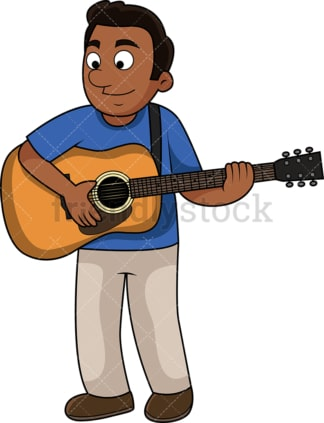 Black guy playing the guitar. PNG - JPG and vector EPS file formats (infinitely scalable). Image isolated on transparent background.