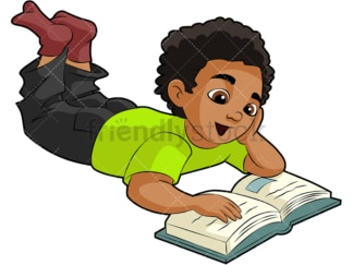 Black boy reading a book. PNG - JPG and vector EPS (infinitely scalable). Image isolated on transparent background.