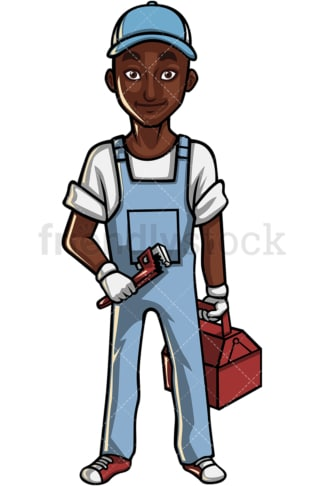 African American plumber. PNG - JPG and vector EPS file formats (infinitely scalable). Image isolated on transparent background.