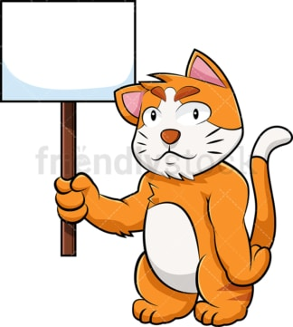Cat cartoon character holding empty sign. PNG - JPG and vector EPS (infinitely scalable). Image isolated on transparent background.