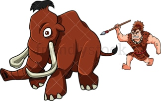 Caveman hunting a mammoth with his spear. PNG - JPG and vector EPS (infinitely scalable). Image isolated on transparent background.
