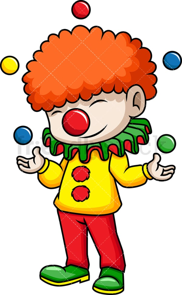 Circus clown juggling balls. PNG - JPG and vector EPS (infinitely scalable). Image isolated on transparent background.