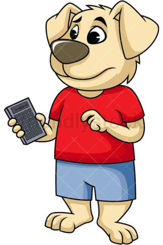 Confused dog cartoon character holding calculator. PNG - JPG and vector EPS (infinitely scalable). Image isolated on transparent background.
