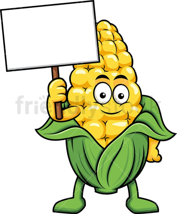Maize cartoon character holding blank sign. PNG - JPG and vector EPS (infinitely scalable). Image isolated on transparent background.