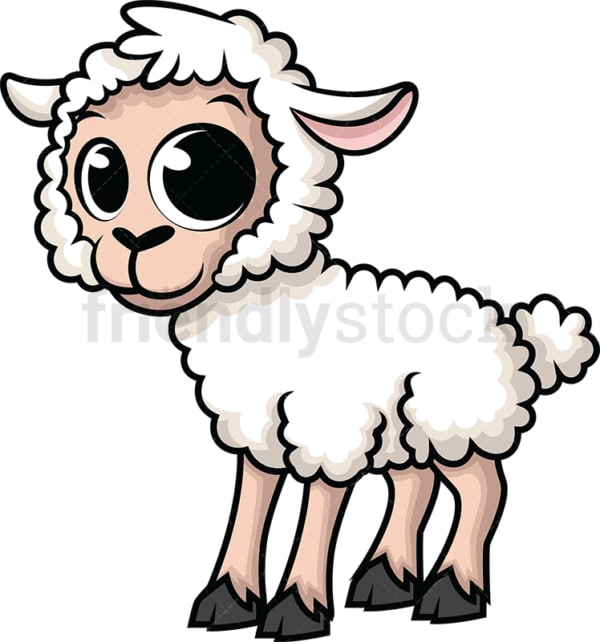Adorable little sheep. PNG - JPG and vector EPS (infinitely scalable). Image isolated on transparent background.