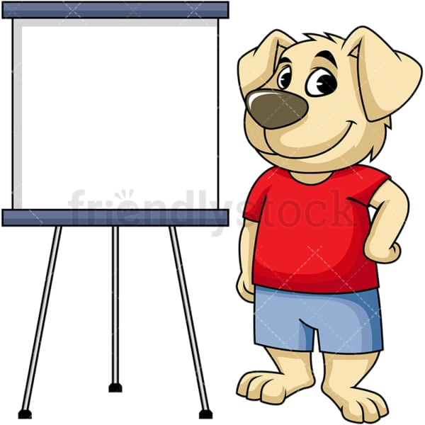 Dog cartoon character near drawing board. PNG - JPG and vector EPS (infinitely scalable). Image isolated on transparent background.