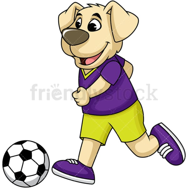 Dog cartoon character playing soccer. PNG - JPG and vector EPS (infinitely scalable). Image isolated on transparent background.