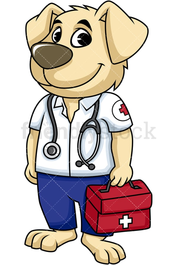 Dog paramedic. PNG - JPG and vector EPS (infinitely scalable). Image isolated on transparent background.