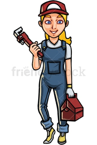 Young woman plumber. PNG - JPG and vector EPS file formats (infinitely scalable). Image isolated on transparent background.