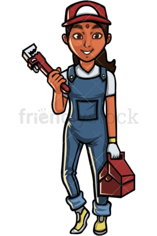 Indian woman plumber. PNG - JPG and vector EPS file formats (infinitely scalable). Image isolated on transparent background.