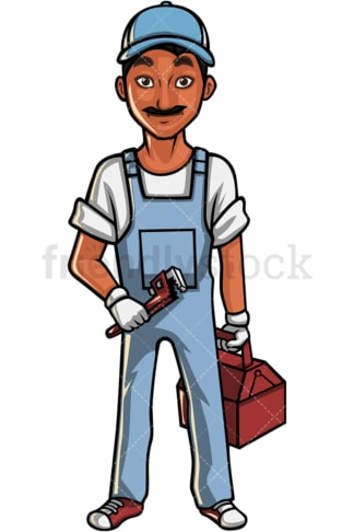 Indian plumber. PNG - JPG and vector EPS file formats (infinitely scalable). Image isolated on transparent background.