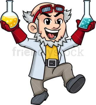 Mad scientist with chemicals. PNG - JPG and vector EPS (infinitely scalable). Image isolated on transparent background.