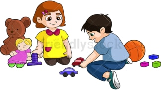 Little boy and girl playing together. PNG - JPG and vector EPS (infinitely scalable). Image isolated on transparent background.