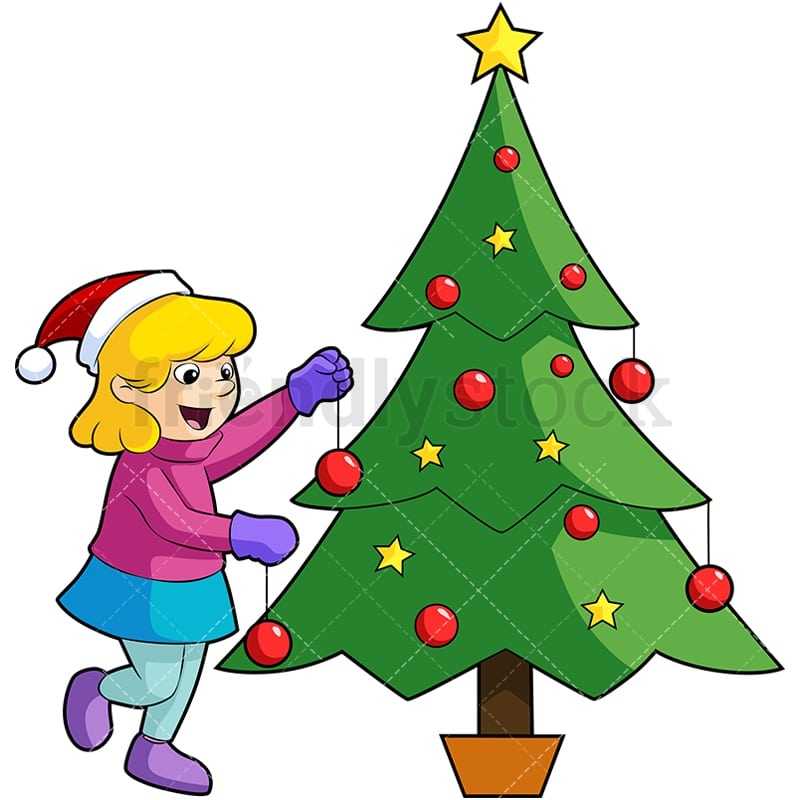Little Girl Christmas Tree: Little Girl Decorating Christmas Tree Cartoon Vector