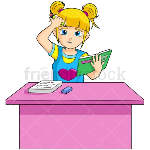 Little girl doing homework. PNG - JPG and vector EPS (infinitely scalable). Image isolated on transparent background.