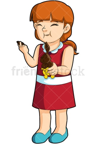 Little girl eating chocolate. PNG - JPG and vector EPS (infinitely scalable). Image isolated on transparent background.