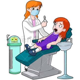 Little girl having tooth pulled. PNG - JPG and vector EPS (infinitely scalable). Image isolated on transparent background.