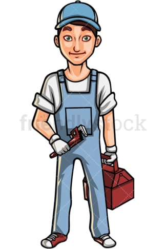 Young man plumber. PNG - JPG and vector EPS file formats (infinitely scalable). Image isolated on transparent background.