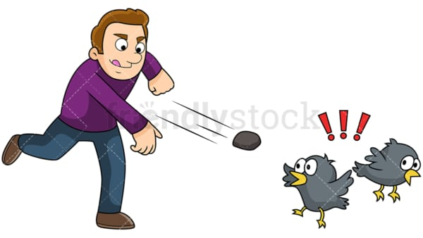 Man kill two birds with one stone. PNG - JPG and vector EPS file formats (infinitely scalable). Image isolated on transparent background.