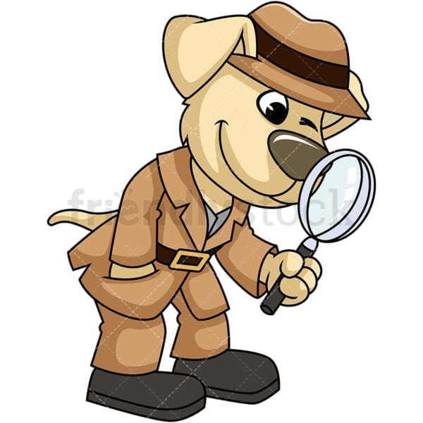 Dog character detective. PNG - JPG and vector EPS (infinitely scalable). Image isolated on transparent background.