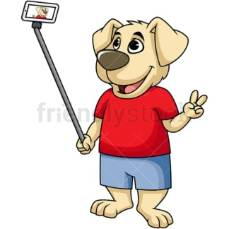 Dog character taking selfie. PNG - JPG and vector EPS (infinitely scalable). Image isolated on transparent background.