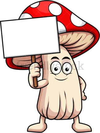 Mushroom cartoon character holding blank sign. PNG - JPG and vector EPS (infinitely scalable). Image isolated on transparent background.