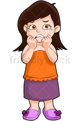 Nervous little girl. PNG - JPG and vector EPS (infinitely scalable). Image isolated on transparent background.