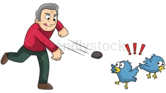 Old man attempting to kill two birds with one stone. PNG - JPG and vector EPS file formats (infinitely scalable). Image isolated on transparent background.