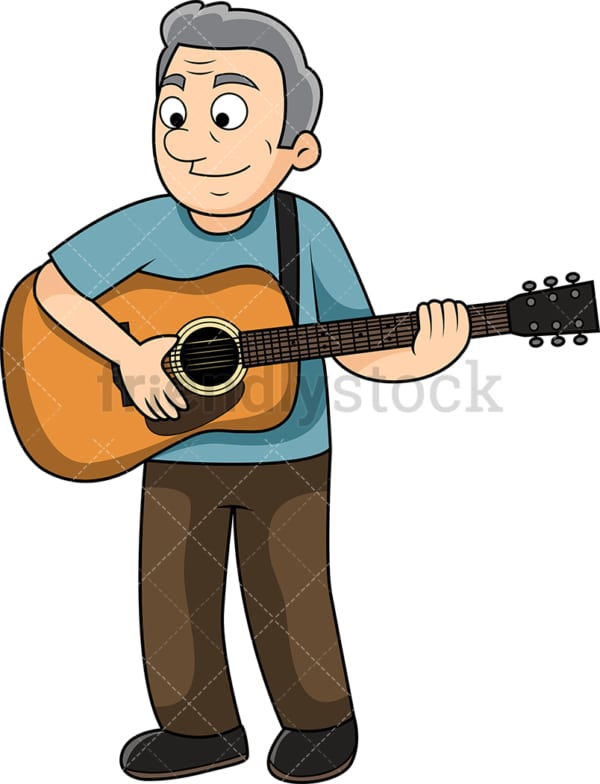 Old man playing the guitar. PNG - JPG and vector EPS file formats (infinitely scalable). Image isolated on transparent background.